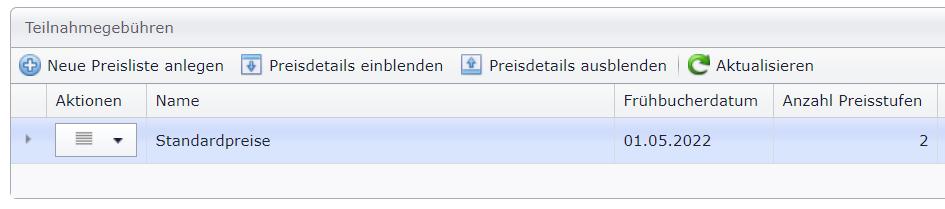 Teilnahmegebüren-Preislisten